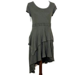 Free People Green Open Back Asymmetric Dress